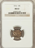 Barber Dimes: , 1912 10C MS62 NGC. NGC Census: (102/637). PCGS Population(136/625). Mintage: 19,350,000. Numismedia Wsl. Price forproblem...