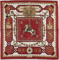 """Luxury Accessories:Accessories, Hermes Burgundy and White """"Ludovicus Magnus,"""" by Francoise de laPerriere Silk Scarf. ..."""