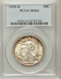 Walking Liberty Half Dollars: , 1935-D 50C MS63 PCGS. PCGS Population (281/1189). NGC Census:(126/600). Mintage: 3,003,800. Numismedia Wsl. Price for prob...