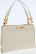 Luxury Accessories:Bags, Versace Metallic Cream Embossed Ostrich-Effect Leather Tote Bag ....