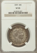 Barber Half Dollars: , 1899 50C VF35 NGC. NGC Census: (5/249). PCGS Population (19/388).Mintage: 5,538,846. Numismedia Wsl. Price for problem fre...