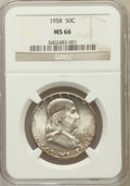 Franklin Half Dollars: , 1958 50C MS66 NGC. NGC Census: (942/29). PCGS Population (1504/35).Mintage: 4,000,000. Numismedia Wsl. Price for problem f...