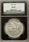 Morgan Dollars, 1901 $1 AU50 NGC. Ex: 25th Anniversary Holder.. NGC Census:(339/3235). PCGS Population (507/2850). Mintage: 6,962,813. Nu...