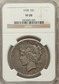 Peace Dollars: , 1928 $1 VF20 NGC. NGC Census: (9/6008). PCGS Population (10/8096).Mintage: 360,649. Numismedia Wsl. Price for problem free...