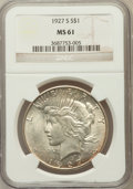 Peace Dollars: , 1927-S $1 MS61 NGC. NGC Census: (158/2678). PCGS Population(155/4143). Mintage: 866,000. Numismedia Wsl. Price for problem...