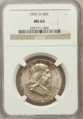 Franklin Half Dollars: , 1957-D 50C MS65 NGC. NGC Census: (1009/280). PCGS Population(1049/151). Mintage: 19,966,850. Numismedia Wsl. Price for pro...