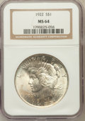 Peace Dollars: , 1922 $1 MS64 NGC. NGC Census: (78858/15719). PCGS Population(41098/6324). Mintage: 51,737,000. Numismedia Wsl. Price for p...