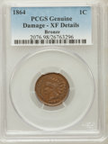 Indian Cents, 1864 1C Bronze No L -- Damaged -- PCGS Genuine. XF Details. NGCCensus: (8/441). PCGS Population (13/415). Mintage: 39,...