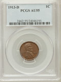 Lincoln Cents, 1913-D 1C AU55 PCGS. PCGS Population (32/175). NGC Census:(13/141). Mintage: 15,804,000. Numismedia Wsl. Price for problem...