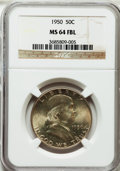 Franklin Half Dollars: , 1950 50C MS64 Full Bell Lines NGC. NGC Census: (442/325). PCGSPopulation (1674/1211). Numismedia Wsl. Price for problem f...