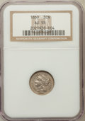 Three Cent Nickels: , 1869 3CN AU55 NGC. NGC Census: (10/339). PCGS Population (24/321).Mintage: 1,604,000. Numismedia Wsl. Price for problem fr...