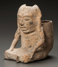 Pre-Columbian:Ceramics, A MAYA VESSEL IN THE FORM OF A HUMAN FIGURE. c. 600 - 900 AD...