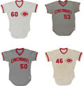 Baseball Collectibles:Uniforms, 1974-83 Cincinnati Reds Game Worn Jerseys Lot of 4....