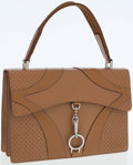 Luxury Accessories:Bags, Prada Tan Leather Top Handle Bag with Silver Hardware. ...