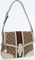 Luxury Accessories:Bags, Gucci GG Monogram Canvas Shoulder Bag with Classic Red and GreenStripe. ...