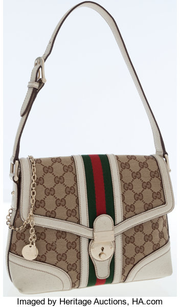 f347f856e9c ... Luxury Accessories:Bags, Gucci GG Monogram Canvas Shoulder Bag with  Classic Red and GreenStripe ...