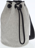 Luxury Accessories:Bags, Hermes Black Ardennes Leather & Gray Toile Recif DrawstringBag. ...
