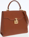Luxury Accessories:Bags, Gucci Brown Leather Top Handle Bag with Shoulder Strap. ...