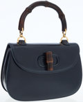 Luxury Accessories:Bags, Gucci Navy Leather Turnlock Bag with Bamboo Top Handle. ...