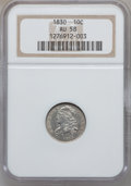 Bust Dimes, 1830 10C Medium 10C AU58 NGC. JR-5, R.2....