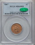 Indian Cents, 1867 1C MS64 Red and Brown PCGS. CAC....