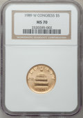 Modern Issues: , 1989-W G$5 Congress Gold Five Dollar MS70 NGC. NGC Census: (1096).PCGS Population (237). Mintage: 46,899. Numismedia Wsl. ...