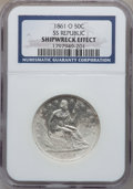 Seated Half Dollars, 1861-O 50C SS Republic, Shipwreck Effect NGC. Wooden display boxincluded....
