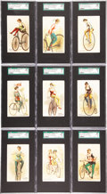 "Non-Sport Cards:Sets, 1891 N100 Duke ""Bicycle Tricks & Riders"" Near Set (20/25). ..."
