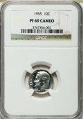 Proof Roosevelt Dimes: , 1955 10C PR69 Cameo NGC. NGC Census: (31/0). PCGS Population (4/0)....
