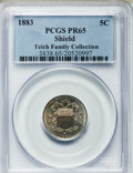 Proof Shield Nickels: , 1883 5C PR65 PCGS. PCGS Population (410/215). NGC Census:(357/270). Mintage: 5,419. Numismedia Wsl. Price for problemfree...