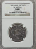 Colonials: , 1787 COPPER New Jersey Copper, Outlined Shield Fine 15 NGC. NGCCensus: (2/50). PCGS Population (23/219). ...