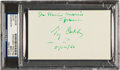 Autographs:Index Cards, 1960 Ty Cobb Signed Index Card....