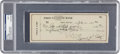 Baseball Collectibles:Others, 1950 Ty Cobb Signed Check, PSA/DNA MINT 9. ...