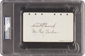 Autographs:Others, 1929 Herb Pennock Signed & Notated Album Page PSA/DNAAuthentic....