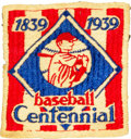 Baseball Collectibles:Others, 1939 Baseball Centennial Game Worn Uniform Sleeve Patch. ...