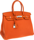Luxury Accessories:Bags, Hermes 35cm Orange H Clemence Leather Birkin Bag with Palladium Hardware. ...