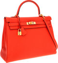 Luxury Accessories:Bags, Hermes 35cm Capucine Clemence Leather Retourne Kelly Bag with Gold Hardware. ...