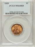Lincoln Cents, 1929 1C MS64 Red PCGS. PCGS Population (325/975). NGC Census:(106/512). Mintage: 185,262,000. Numismedia Wsl. Price for pr...