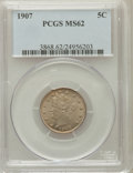 Liberty Nickels: , 1907 5C MS62 PCGS. PCGS Population (83/560). NGC Census: (63/442).Mintage: 39,214,800. Numismedia Wsl. Price for problem f...