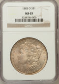 Morgan Dollars: , 1883-O $1 MS65 NGC. NGC Census: (9628/1012). PCGS Population(7250/731). Mintage: 8,725,000. Numismedia Wsl. Price for prob...