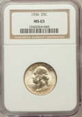 Washington Quarters: , 1936 25C MS65 NGC. NGC Census: (687/521). PCGS Population(1017/584). Mintage: 41,303,836. Numismedia Wsl. Price forproble...