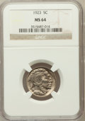 Buffalo Nickels: , 1923 5C MS64 NGC. NGC Census: (346/212). PCGS Population (534/451).Mintage: 35,715,000. Numismedia Wsl. Price for problem ...