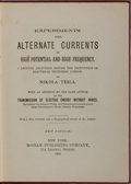 Books:Science & Technology, Nikola Tesla. Experiments with Alternate Currents. McGraw,1904. New edition. Publisher's cloth with light rubbing a...
