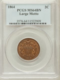 Two Cent Pieces, 1864 2C Large Motto MS64 Brown PCGS. PCGS Population (276/53). NGCCensus: (444/272). Mintage: 19,847,500. Numismedia Wsl. ...