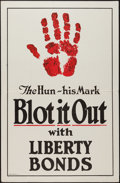 "Movie Posters:War, World War I Propaganda (Brett Litho, 1917). Poster (28"" X 42"").""The Hun - His Mark - Blot It Out."" War.. ..."