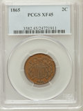 Two Cent Pieces: , 1865 2C XF45 PCGS. PCGS Population (47/790). NGC Census: (24/1034).Mintage: 13,640,000. Numismedia Wsl. Price for problem ...