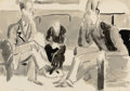 Impressionism & Modernism:post-Impressionism, ERNST LUDWIG KIRCHNER (German, 1880-1938). Unterhaltung, c.1922. Ink wash and pencil on paper. 14-1/4 x 20 inches (36.2...