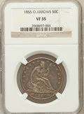 Seated Half Dollars: , 1855-O 50C Arrows VF35 NGC. NGC Census: (9/429). PCGS Population(16/462). Mintage: 3,688,000. Numismedia Wsl. Price for pr...