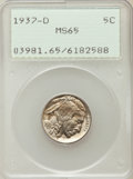 Buffalo Nickels: , 1937-D 5C MS65 PCGS. PCGS Population (3699/1731). NGC Census:(1344/1958). Mintage: 17,826,000. Numismedia Wsl. Price for p...