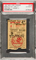 Baseball Collectibles:Tickets, 1947 Babe Ruth Day Ticket Stub....